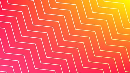 ziguezague : Digital animation of white zigzag line patterns moving in the screen with a background of pink and yellow gradient.