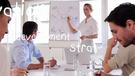 チーム : Digital composite of a Caucasian woman explaining a diagram on a board while diverse men listen and different words zoom in the screen 動画素材