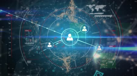 innovation : Digital animation of profile icons in circles connected by asymmetrical lines while background shows different graphs with data and a world map. Asymmetrical lines with futuristic symbols move in the background. Stock Footage