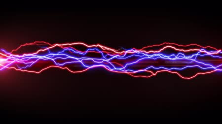 electric strike : Digital animation of red and blue lightning moving in the middle of the screen causing sparks
