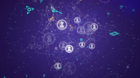 przyszłość : Digital animation of profile icons in circles connected by lines while asymmetrical lines with futuristic symbols move in the background. Wideo