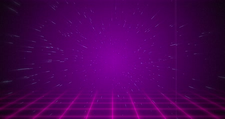 arcades : Animation of pink particle coming from the background above pink squared floor 4k Stock Footage
