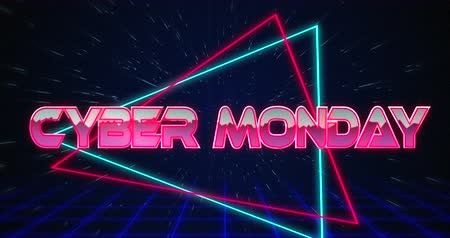 monção : Animation of Retro Cyber Monday text glitching over blue and red triangles against black background 4k Stock Footage