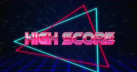 hyperspace : Animation of Retro High Score text glitching over blue and red triangles against black background 4k Stock Footage