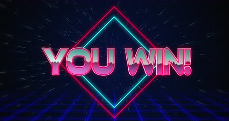 you win : Animation of retro You Win text glitching over blue and red squares against black background 4k