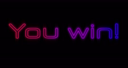 you win : Animation of Emerging pink and purple You Win neon billboard against black background 4k Stock Footage