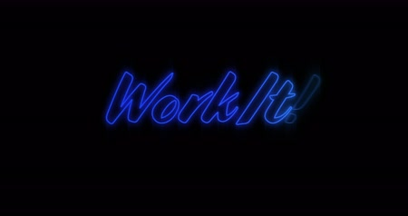 ケース : Animation of Emerging blue Work It neon billboard against black background 4k