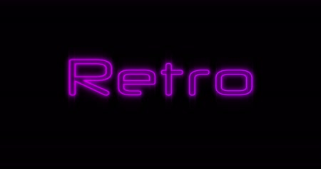 times : Animation of Emerging purple Retro It neon billboard against black background 4k