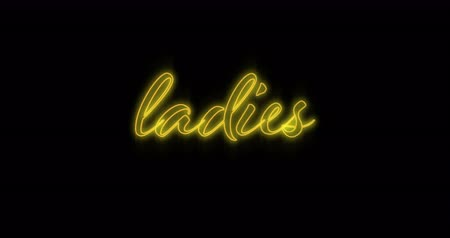 ケース : Animation of Emerging yellow ladies neon billboard against black background 4k