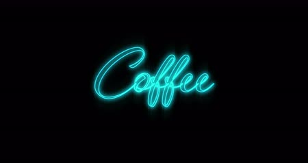 fluorescent : Animation of Emerging blue Coffee neon billboard against black background 4k