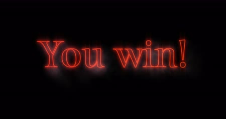 you win : Animation of Emerging red You win neon billboard against black background 4k Stock Footage