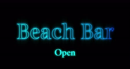 times : Animation of blue emerging Beach Bar neon billboard against black background 4k