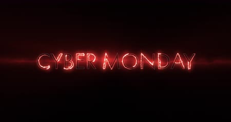 segunda feira : Animation of neon red Cyber Monday text appearing against a black screen 4k