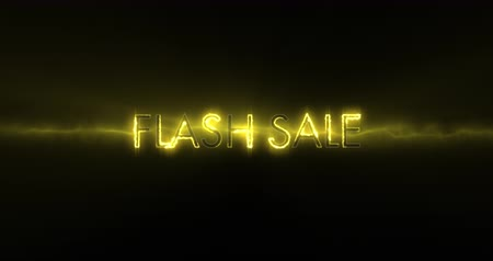 flash sale : Animation of neon yellow Flash sale text appearing against a black screen 4k