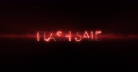 flash sale : Animation of neon red Flash sale text appearing against a black screen 4k