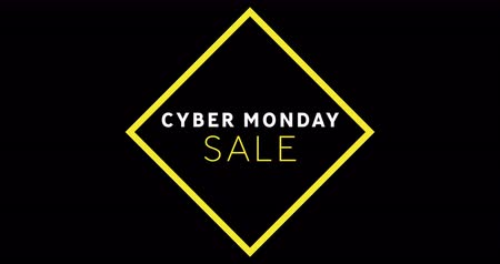 segunda feira : Animation of white and yellow Cyber Monday sale text appearing against a black screen 4k