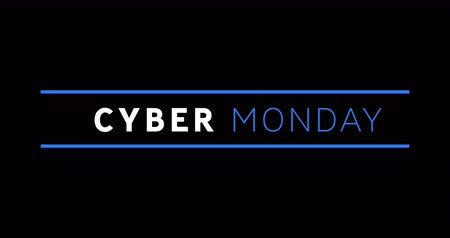 segunda feira : Animation of white and blue Cyber Monday text appearing against a black screen 4k Vídeos