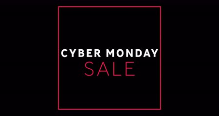 monção : Animation of white and red Cyber Monday sale text appearing against a black screen 4k