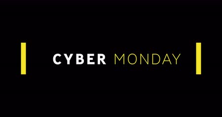 monção : Animation of white and yellow Cyber Monday text appearing against black screen 4k