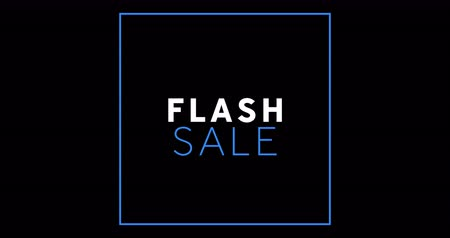 обрамление : Animation of white and blue Flash Sale text appearing against black screen 4k Стоковые видеозаписи