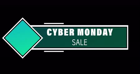 обрамление : Animation of white and green Cyber Monday Sale text appearing against black screen 4k Стоковые видеозаписи