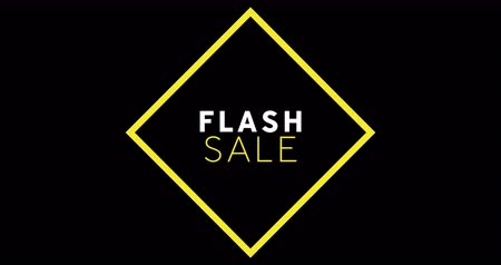 обрамление : Animation of white and yellow Flash Sale text appearing against black screen 4k