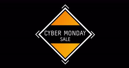 обрамление : Animation of white and orange Cyber Monday Sale text appearing against black screen 4k Стоковые видеозаписи