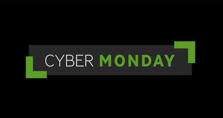 обрамление : Animation of White and green Cyber Monday text appearing against a black screen 4k Стоковые видеозаписи