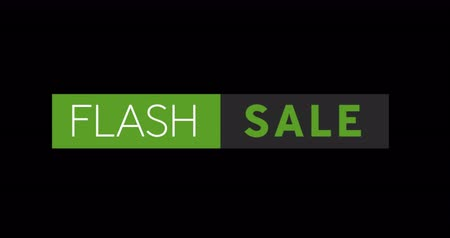 обрамление : Animation of White and green Flash Sale text appearing against a black screen 4k