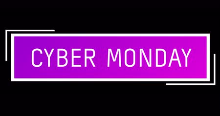 segunda feira : Animation of White and purple Cyber Monday text appearing against a black screen 4k Vídeos