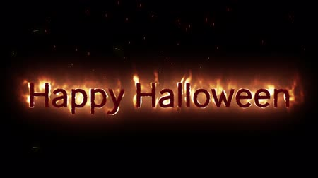 epik : Animation of Happy Halloween text appearing on fire against black background Stok Video