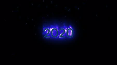 elektro : Animation of Number 2020 appearing on purple fire against black background Stok Video