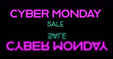 lights up : Pink neon Cyber Monday Sale text appearing against black background 4k