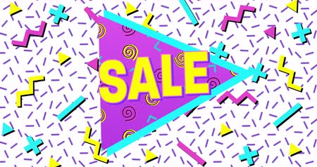 blasting : Animation of Bold Sale Advertisement in Retro Eighties Style appearing and moving 4k