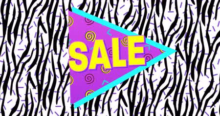 blasting : Animation of Bold Sale Advertisement in Retro Eighties Style appearing and moving against black and white screen 4k