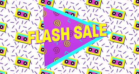 blasting : Animation of Bold Flash Sale Advertisement in Retro Eighties Style appearing and moving 4k Stock Footage