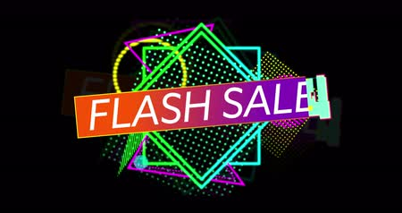 смелый : Animation of Flash Sale advertisement in Retro Eighties style with neon shapes against black background 4k
