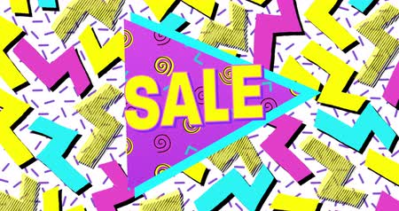blasting : Animation of Bold Sale Advertisement in Retro Eighties Style against white background. 4k