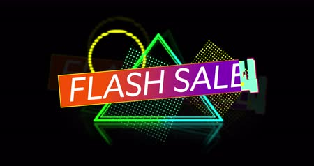 大胆な : Animation of Flash Sale advertisement in Retro Eighties style with neon shapes against black background 4k