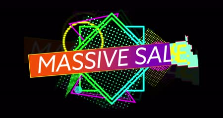 смелый : Animation of Massive Sale advertisement in Retro Eighties style with neon shapes against black background 4k Стоковые видеозаписи
