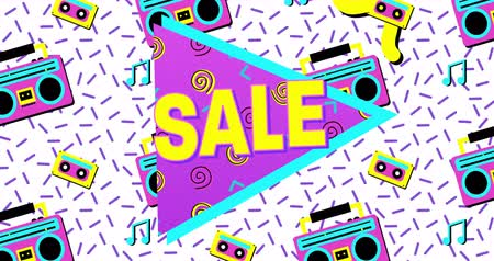 смелый : Animation of Bold Sale Advertisement in Retro Eighties Style against white background. 4k