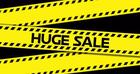 flash sale : Animation of Huge Sale text on yellow industrial ribbon against black background. 4k Stock Footage
