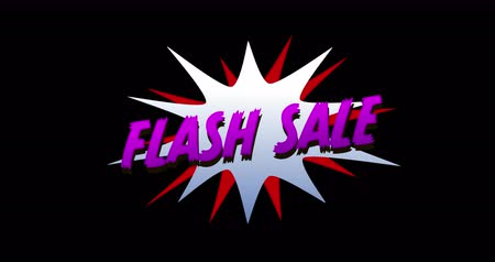 çizgi roman : Animation of Flash Sale text in cartoon style explosion against black background. 4k