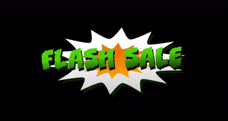 popart : Animation of Flash Sale text in cartoon style explosion against black background. 4k
