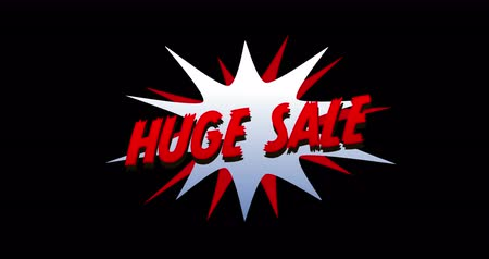 blasting : Animation of Huge Sale text in cartoon style explosion against black background. 4k