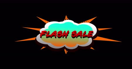 blasting : Animation of Flash Sale text in cartoon style cloud above explosion against black background. 4k Stock Footage