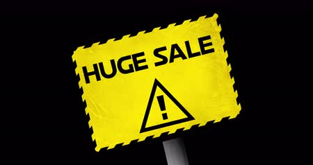 huge sale : Animation of Huge Sale text in yellow warning sign against black background. 4k Stock Footage