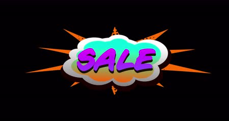 смелый : Animation of Sale text in cartoon style cloud above explosion against black background. 4k Стоковые видеозаписи