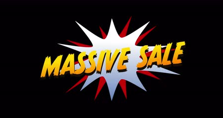 popart : Animation of Massive Sale text in cartoon style explosion against black background. 4k