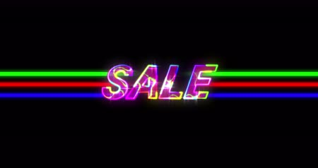 futurismus : Animation of retro Sale Advertisement on colourful lines against black background. 4k Dostupné videozáznamy
